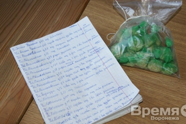 В Воронеже наркоторговцы записывали адреса тайников с героином в школьную тетрадь