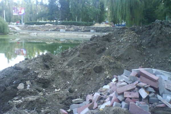 В ТЕМУ НЕДЕЛИ: В Воронеже плитку вокруг Лебединого озера укладывают до позднего вечера
