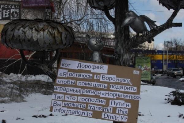 В Воронеже в день приезда Путина памятник Котёнку с улицы Лизюкова превратили в одиночный пикет