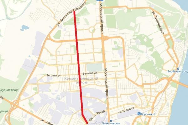 Власти Воронежа распланируют территорию под дублер Московского проспекта
