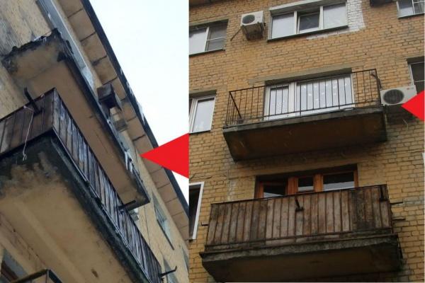 Воронежской УК пришлось экстренно починить аварийный балкон