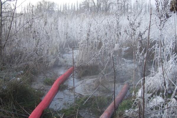 На территории воронежских очистных сооружений появилось озеро из нечистот
