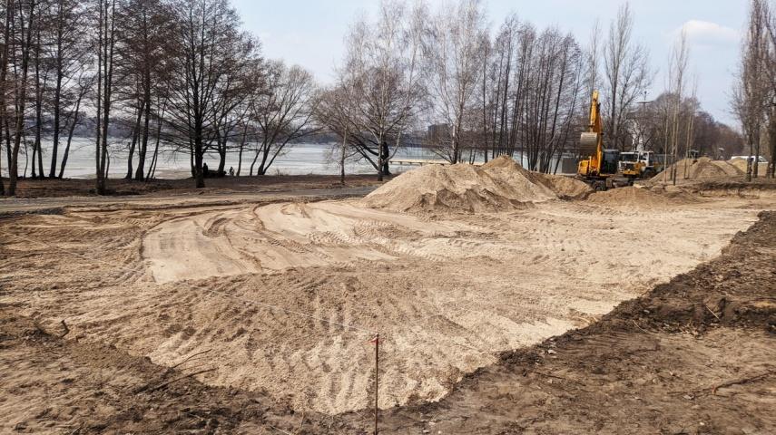В воронежском парке «Дельфин» начались работы по обустройству поля для мини-футбола